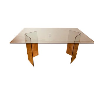 1970's Hollywood Regency Leon Rosen for Pace Collection Glass Dining Table Conference Table Executive Desk Modern Minimalist Thanksgiving For Sale