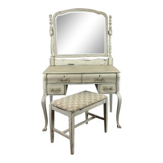 20th Century Shabby Chic Vanity With Mirror and Bench - 2 Pieces For Sale