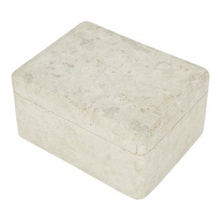 Large Postmodern Matte White Tessellated Stone Lidded Decorative Box, 1990s For Sale