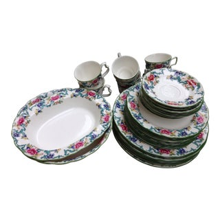Royal Doulton Green Floradora English China Dinnerware Microwave Oven Dishwasher Safe For Sale