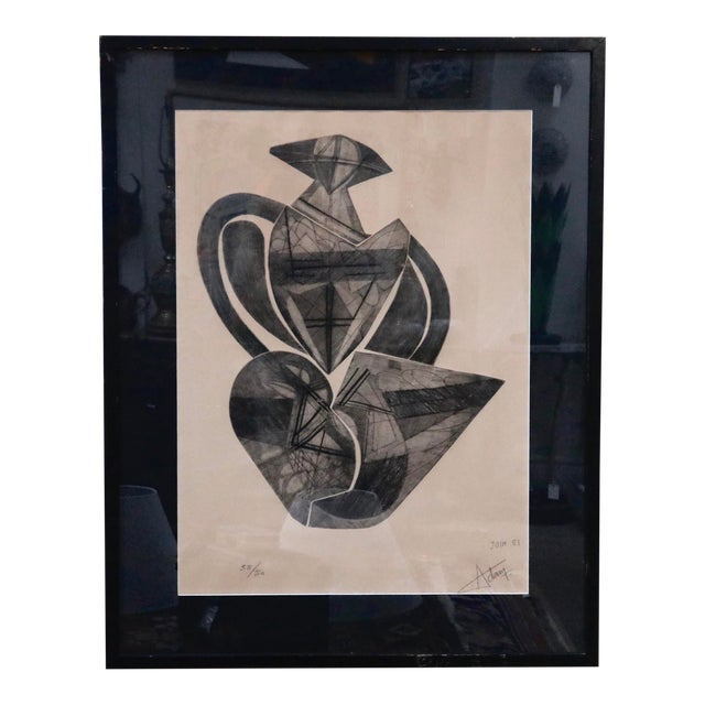 Signed French Abstract Graphite on Paper For Sale