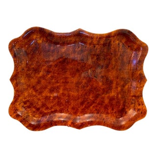 Mid Century French Faux Tortoise Large Tray For Sale