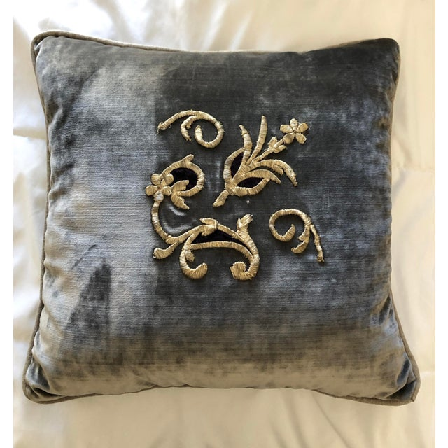 Grey Velvet Pillows Re-Designed With Antique Silver Wire Embroidery- a Pair For Sale - Image 4 of 13