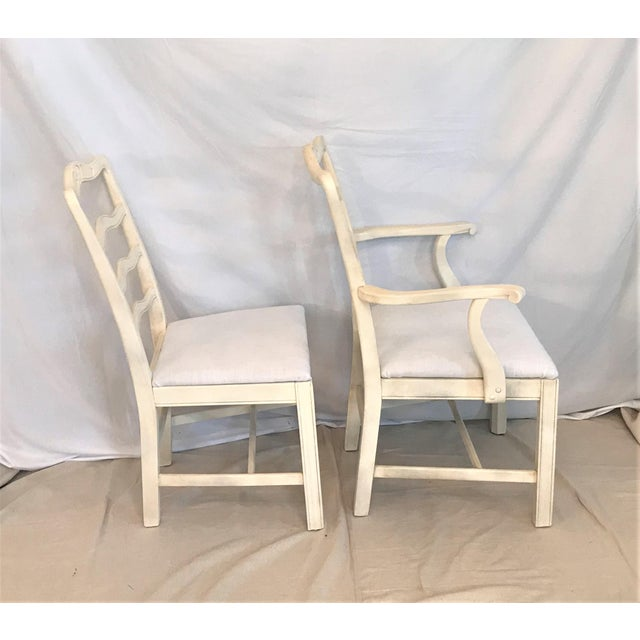 1920s Provençale Antique White Ladder Back Dining Chairs – Set of 8 For Sale - Image 4 of 9