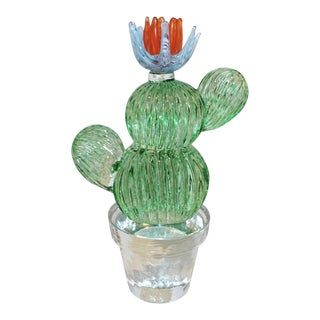 1990s Marta Marzotto Vintage Murano Glass Green Cactus Plant & Blue Coral Flower For Sale