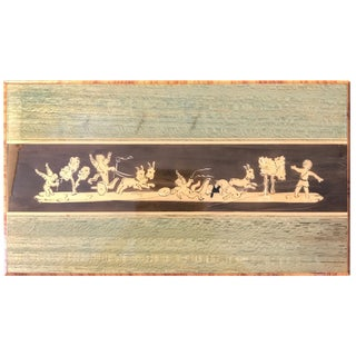 Italian Wood Marquetry Wood Midcentury Box Desk Accessory For Sale