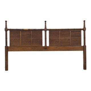 Vintage Chinoiserie King Dixie Faux Bamboo Walnut Post Headboard For Sale
