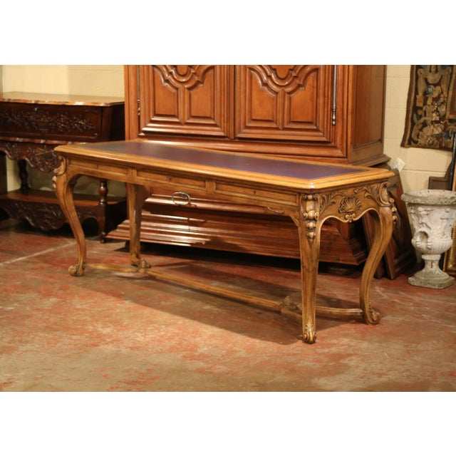 Large 19th Century French Louis XV Carved Walnut Console Desk With Leather Top For Sale - Image 4 of 13