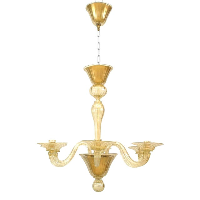 """1990s 1990s Italian Murano """"Soffiati"""" Gold Dusted Glass Chandeliers For Sale - Image 5 of 5"""