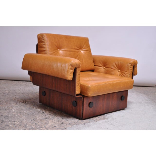 Brazilian Modern Rosewood and Leather Modular Sofa or Settees - 4 Pc. Set For Sale - Image 9 of 13