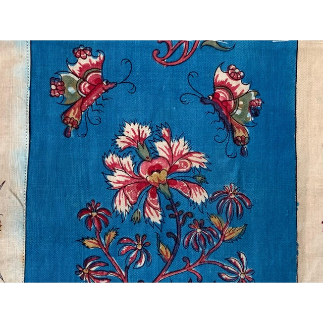 """Blue Antique French Fabric Floral And Stripe Indienne Fabric - 25.5x65.75"""" For Sale - Image 8 of 11"""