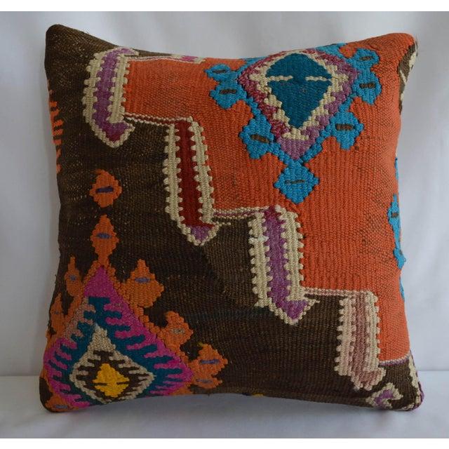 "16"" Vintage Handmade Kilim Rug Pillow Cover For Sale - Image 4 of 4"