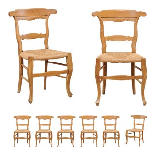 Mid 20th Century French Side Chairs With Hand-Woven Rush Seats - Set of 8 For Sale