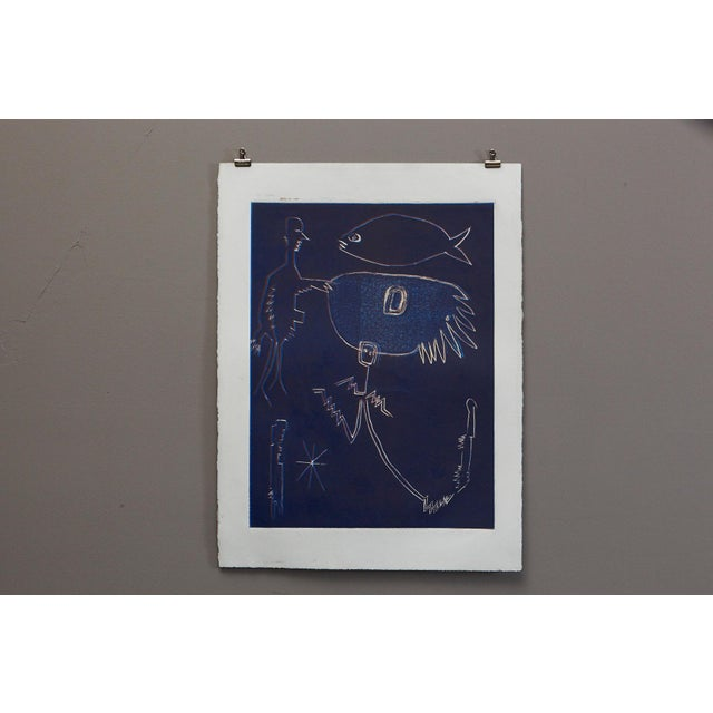 Wyona Diskin, American (1915 - 1991) Blue Man with Fish Monoprint, Signed on back lower left. Unframed. Signs of color...
