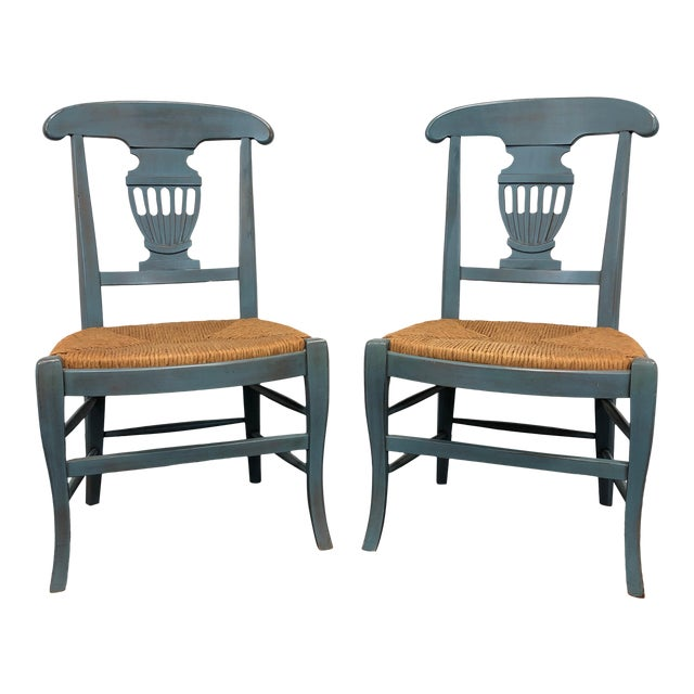 Country Cottage Shabby Chic Painted Distressed Dining Chairs - Pair 2 For Sale