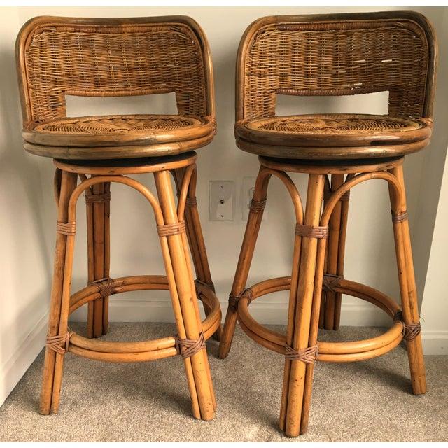 Vintage Boho Bamboo Swivel Counter Stools - A Pair - Image 2 of 6
