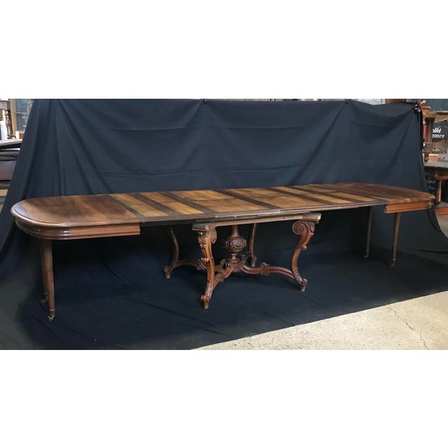 Mid 19th Century Carved Wood Baroque Walnut Dining Table For Sale - Image 11 of 11