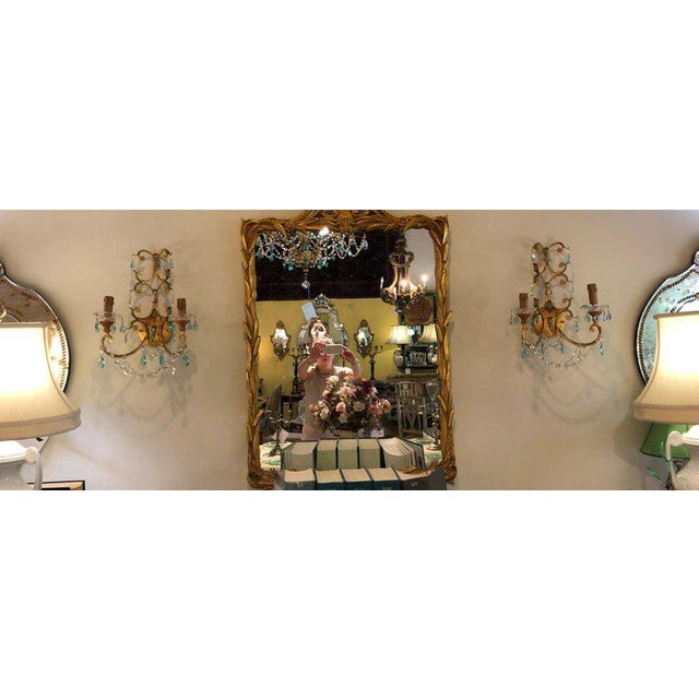 Neoclassical Handcrafted Italian Gilt Metal and Crystal Sconces - a Pair For Sale - Image 9 of 10