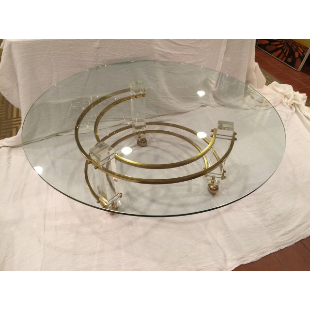 Gold Charles Hollis Jones Hollywood Regency Lucite & Brass Coffee Table For Sale - Image 8 of 10