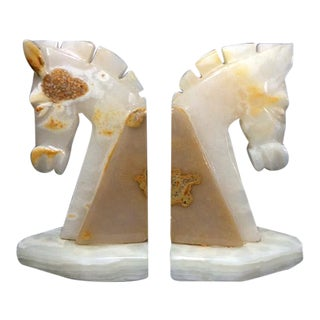 Vintage Onyx Horse Head Bookends - A Pair
