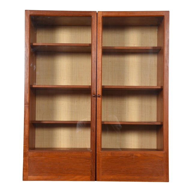 Danish Modern Teak Hanging Display Cabinet With Glass Doors For Sale