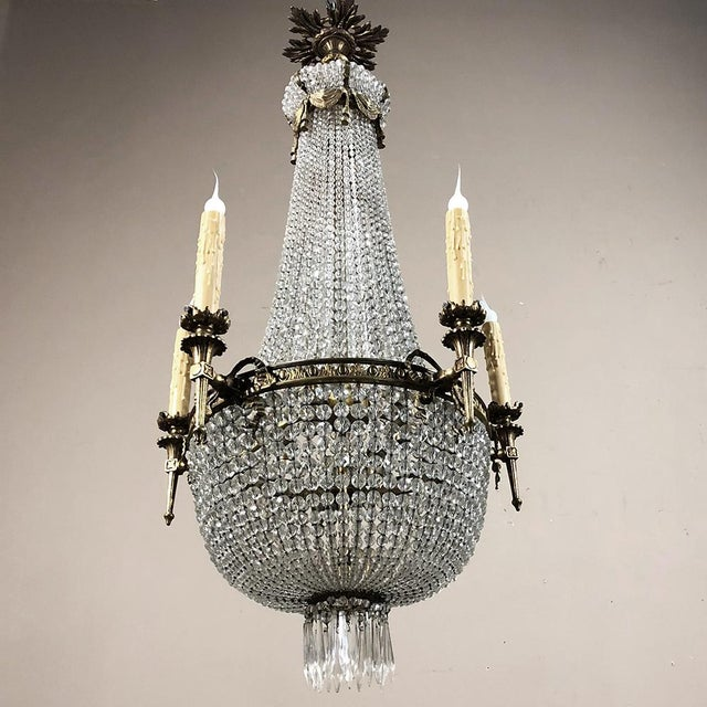 Antique Sack of Pearls Crystal Chandelier For Sale - Image 9 of 13