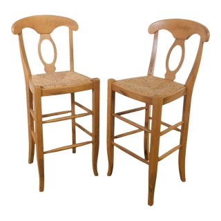 French Country Style Rush Seat Barstools - a Pair For Sale