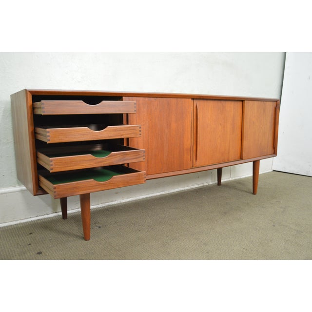Danish Modern Mid Century Teak Long Sliding Door Sideboard For Sale - Image 9 of 10