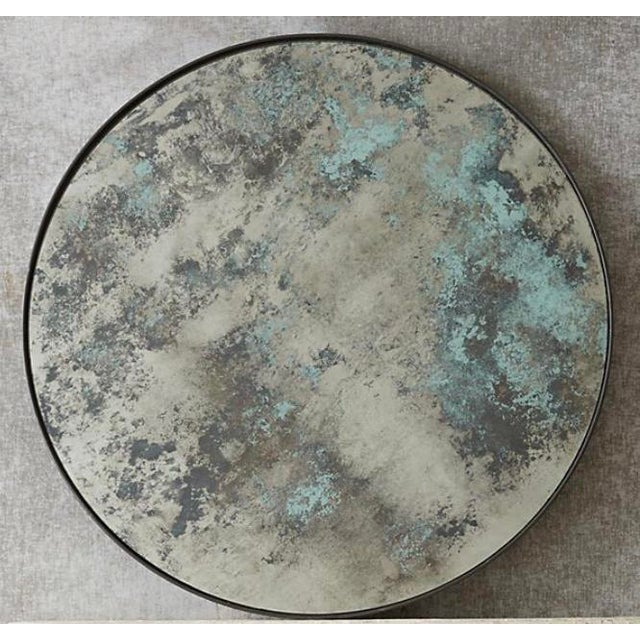 Glass Round Color Washed Mirror For Sale - Image 7 of 7
