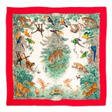 Image of Hermes Large Cashmere Scarf Shawl Jungle Animals Hunting 50 Inch MultiColors Vintage For Sale