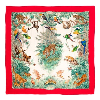 Hermes Large Cashmere Scarf Shawl Jungle Animals Hunting 50 Inch MultiColors Vintage For Sale