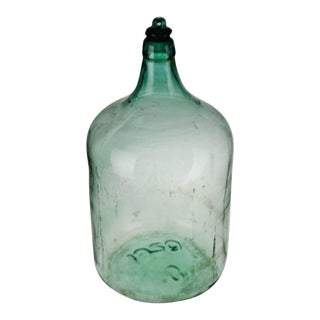 Vintage Large Scale 1920 Aqua Glass Demijohn Wine Bottle W/ Glass Stopper For Sale