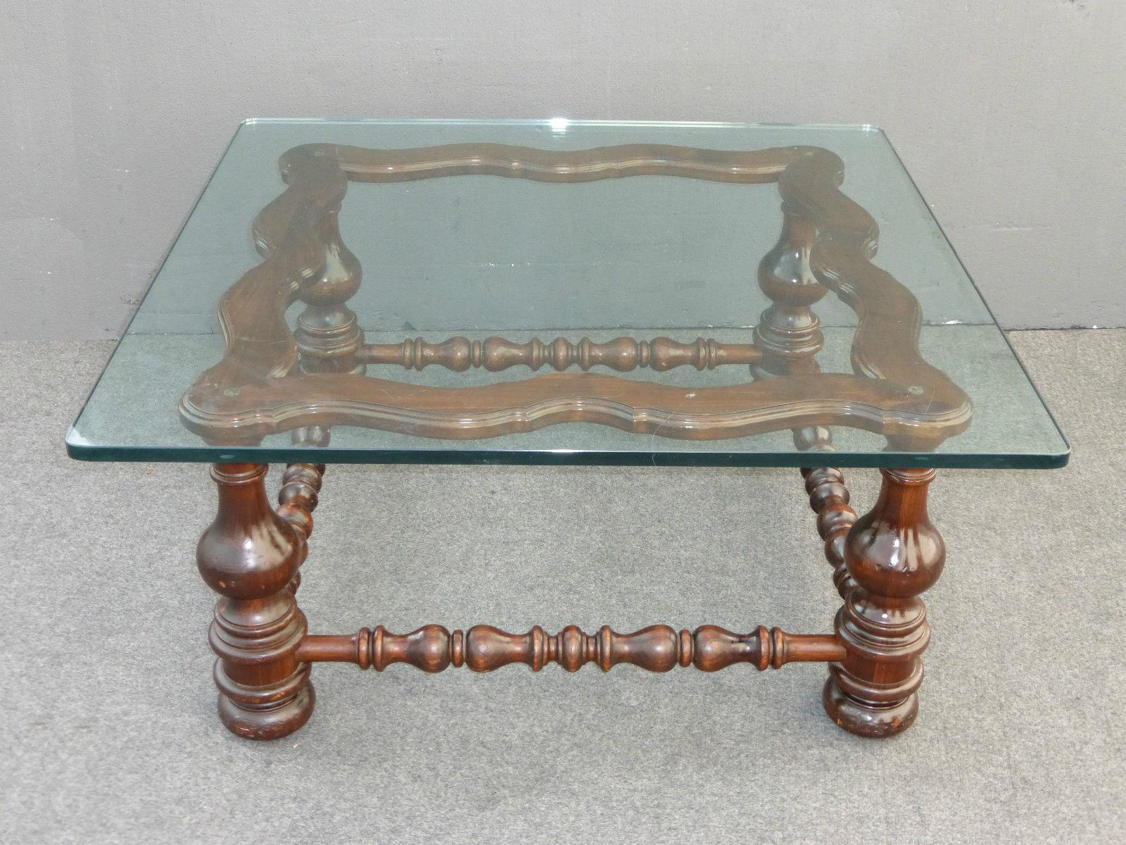 Vintage Spanish Style Glass Top Turned Wood Coffee Table   Image 2 Of 11