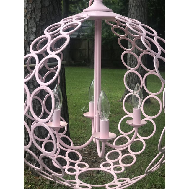 """Currey & Company Currey and Company """"Tartufo"""" Pink Orb Four Light Chandelier For Sale - Image 4 of 6"""