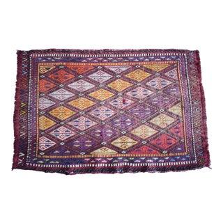 Vintage Handmade Cicim Kilim Rug 1′9″ × 2′8″ For Sale