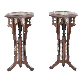 Moroccan Carved Inlaid Pedestals - A Pair