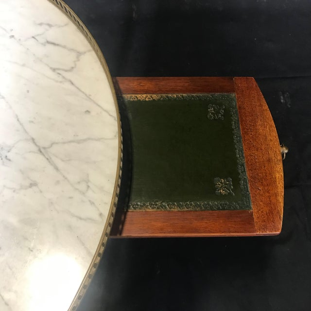 French Louis XVI Style Marble Top and Walnut Bouillotte Side Table For Sale - Image 10 of 13