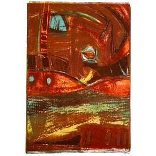 Jerry Opper Abstract Lithograph in Warm Tones, Circa 1950 Circa 1950 For Sale