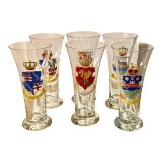 Set of 6 Antique German Pilsner Beer Glasses W Enamel Armorial Crests For Sale