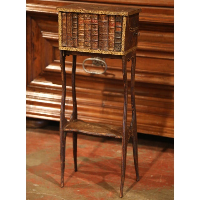 Early 19th Century French Faux Leather Bound Books Liquor Cabinet With Glasses For Sale - Image 11 of 11