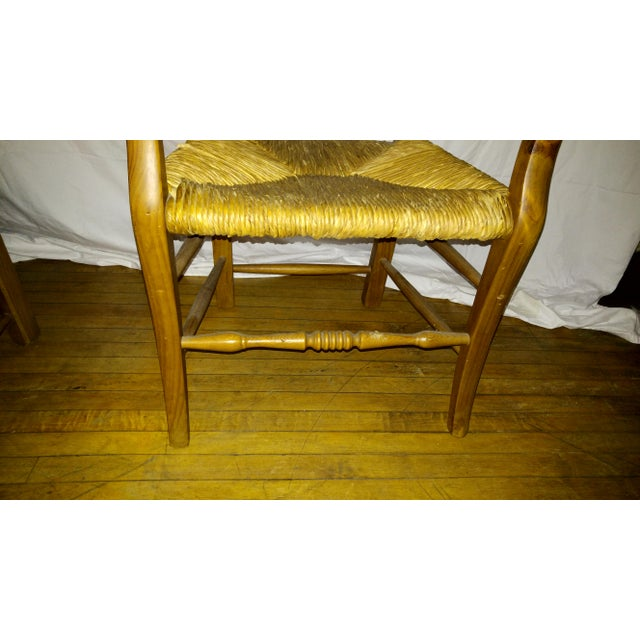 Pine 1970s French Country Hand Carved Rush Seat Chairs - Set of 4 For Sale - Image 7 of 13