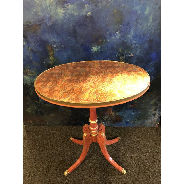 Custom Painted Metal Leaf Top Side Table For Sale In Richmond - Image 6 of 6