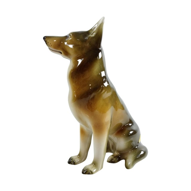Royal Dux Bohemia Czech German Shepherd Figurine For Sale