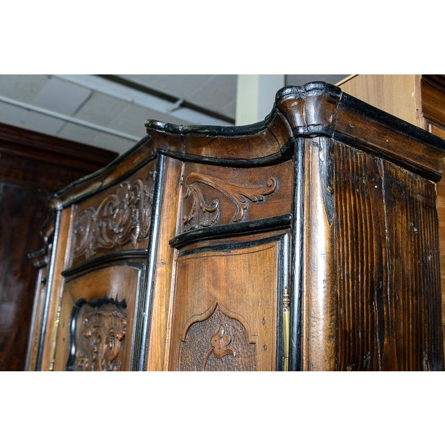 Brown Portuguese Cabinet With Four Seasons Carving For Sale - Image 8 of 10