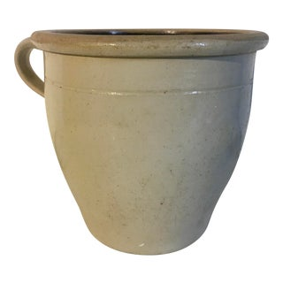 19th Century Antique Handled Stoneware Crock For Sale
