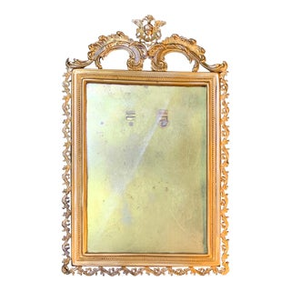 1920s Vintage Italian Picture Frame With Gold Gilt & Angel Decoration For Sale