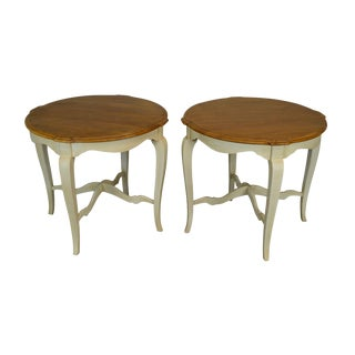 Ethan Allen Country French Painted Base Pair of Side Tables For Sale