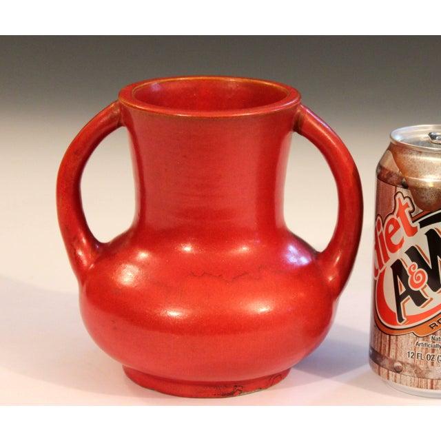 Awaji Pottery Japanese Art Deco Vase Crystalline Chrome Orange Red Glaze For Sale - Image 9 of 11