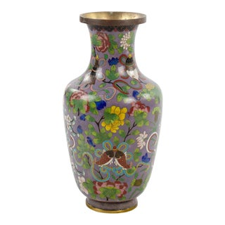 Chinese Cloisonne and Brass Vase For Sale