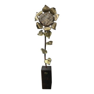 Mid-Century Modern Segal Brass Sunflower Sculpture